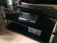 URGENT!! Large Dark/Black Glass TV stand with three shelves excellent condition £10