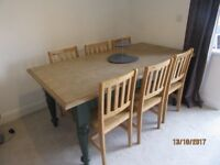 SHABBY CHIC DINING TABLE + 6 CHAIRS