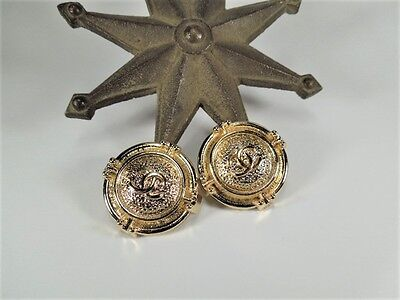 SET OF 2 REPLACEMENT LARGE GOLD METAL BUTTONS CHANEL CC 25MM LOT OF 2