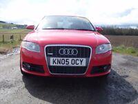 2005 AUDI A4 2.0 TFSI QUATTRO S LINE RED PETROL MOT APR 17 FIVE DOOR SALOON £4750 OLDMELDRUM