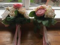 2 x bridesmaid fake flowers and button holes - wedding