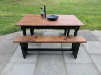 Rustic farmhouse dining/kitchen table plus 2 new handcrafted benches. Charcoal shabby chic.