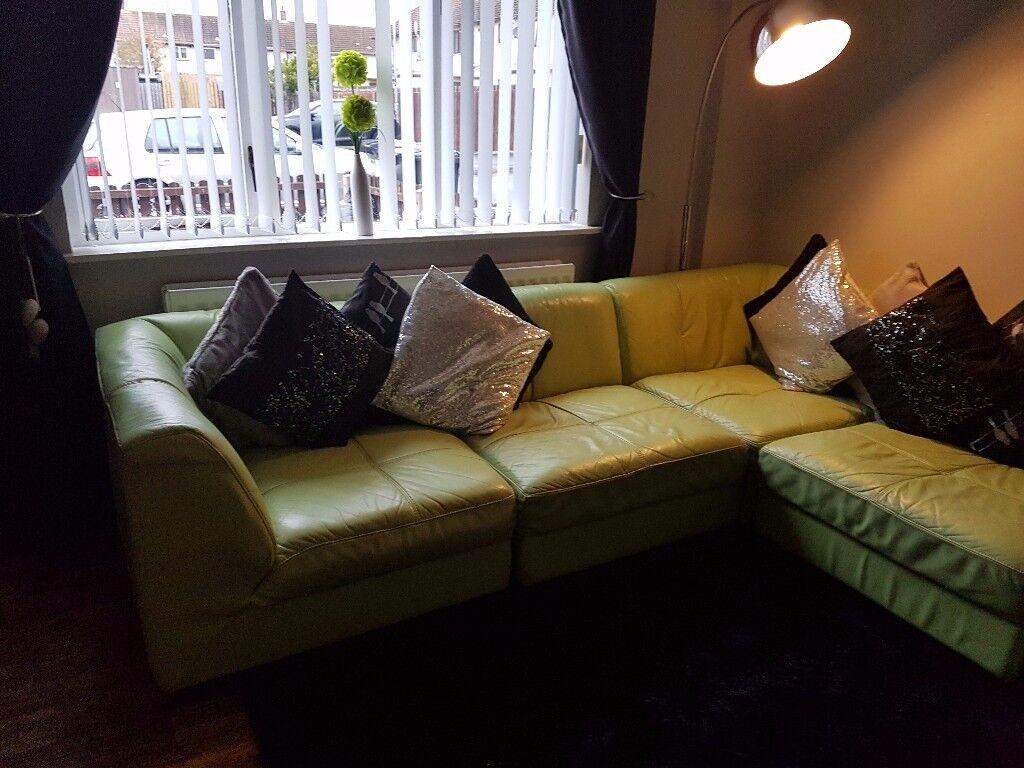 Large lime green corner sofa