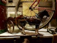 Lovely delf horse and wooden cart