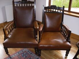 A Pair Of Beautifully Carved Edwardian Mahogany Arm Chairs.