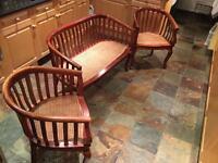 Conservatory wood three piece suite