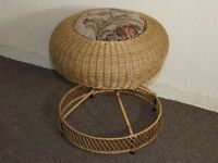 VINTAGE ROUND DOME TOP WICKER RATTAN CANEWORK DRESSING TABLE STOOL FREE DELIVERY IN THE GLASGOW AREA