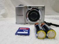 Canon Powershot tiny zoom compact digital camera HD video 16mp bundle spare batteries, charger