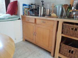 Used solid timber bespoke retro kitchen units + Cordon Bleu gas range & porcelain double sink