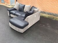 Superb BRAND NEW black and grey corner sofa ,good quality ,still packed ,can deliver