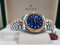 Rossco's Purveyors of Quality Watches. Rolex Datejust Bi-Metal Jubilee with Blue Face