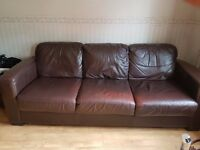 3 + 2 brown genuine leather sofa suite