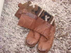 NEXT Ladies/Girls UK size 3 Boots. leather with fabric design on the back. Worn but great condition.