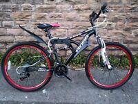"""New Boss Dominator Mens Full suspension Mountain Bike, 26"""" Wheel RRP £365"""