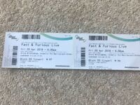 2 x tickets for Fast & Furious Live - Birmingham Friday 20 April 8.00pm