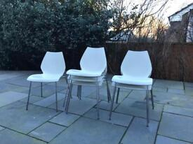 Set of 6 white dining chairs