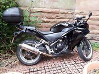 2013 Honda CBR250R Black Low mileage + extras. A2 licence. 250cc.