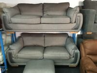 New/Ex Display Dfs Gray 3 Seater Sofa + 2 Seater Sofa + Ottoman Footstool