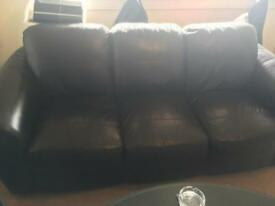 Black leather sofa's **price reduced again for quick sale ++