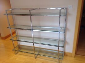 Polished chrome display unit with tempered glass shelves