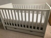 Mamas and Papas cot-bed with drawer and mattress