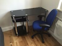 Black Glass Desk with Office Chair
