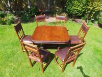 FRENCH ANTIQUE OAK EXTENDING HENRY II TABLE AND 6 SOLID EMBOSSED LEATHER CHAIRS LOVELY CONDITION