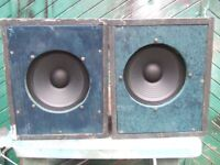 PA/Monitor sys-Carlsbro 100 W.amp & 2x 100W 10 inch speakers from Carlsbro factory in strong cabs.
