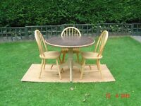 Circular Dining Table with Three Pine Chairs. Can Deliver.