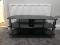 Black glass tv stand very good condition