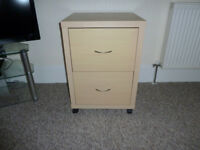 2 Drawer Wooden Filing Cabinet On Wheels