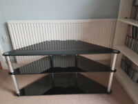 "TV Stand black glass and silver metal, 3 shelves, support 50"" TV"