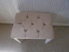 White dressing stool with Mink coloured studded top vgc £5