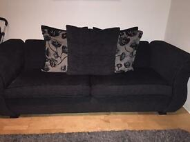 DFS BLACK THREE SEATER WITH CHAIR