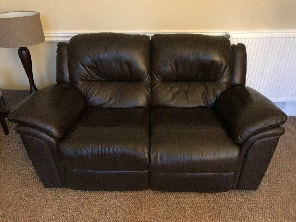 2 And 3 Seater Recliner Dark Brown Leather Sofas In West
