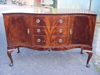 Sideboard-c.1930. in the Queen Anne style-antique dining dressing table-side cabinet-desk, vintage.