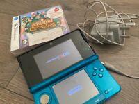 Aqua Blue Nintendo 3DS with Animal Crossing Wild World