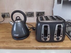 RUSSELL HOBBS GRAPHITE GREY KETTLE AND 4 SLICE TOASTER
