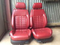 Red Leather Interior Golf MK4 Bora Leon Custom Show Heated