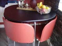 Hideaway kitchen table chairs black red modern as new