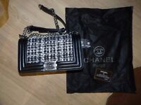 Tweed Chanel Le Boy medium size for sale with silver logo and chain Brand new.
