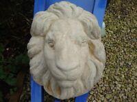 Limestone Lion Head Wall Mask.( 16 x 13.5 Inches).