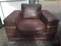 Huge 4ft wide brown Suede style large Armchair snuggle gaming man cave