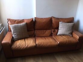 Quality leather 3 and 1 seater sofas - thick leather