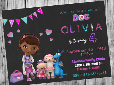 Doc McStuffins Theme Party Invitation Personalized Custom  You Print](Doc Mcstuffins Custom Invitations)