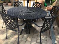 HARTMAN Aluminium Garden Furniture - Table + 6 Chairs + Parasol + Base **Delivery**