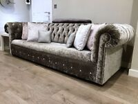 *1 YEAR WARRANTY*CHESTERFIELD CRUSHED VELVET SOFAS**EXPRESS DELIVERY ALL OVER UK**MADE IN UK*