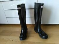HUNTER Boots Wellies Black Gloss size 3 UK