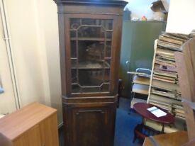vintage dark wood corner cabinet. no key