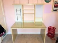 desk (Ikea) birch glass top, detacheable shelving unit